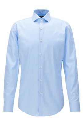 Camicia slim fit in twill di cotone con colletto alla francese, Celeste