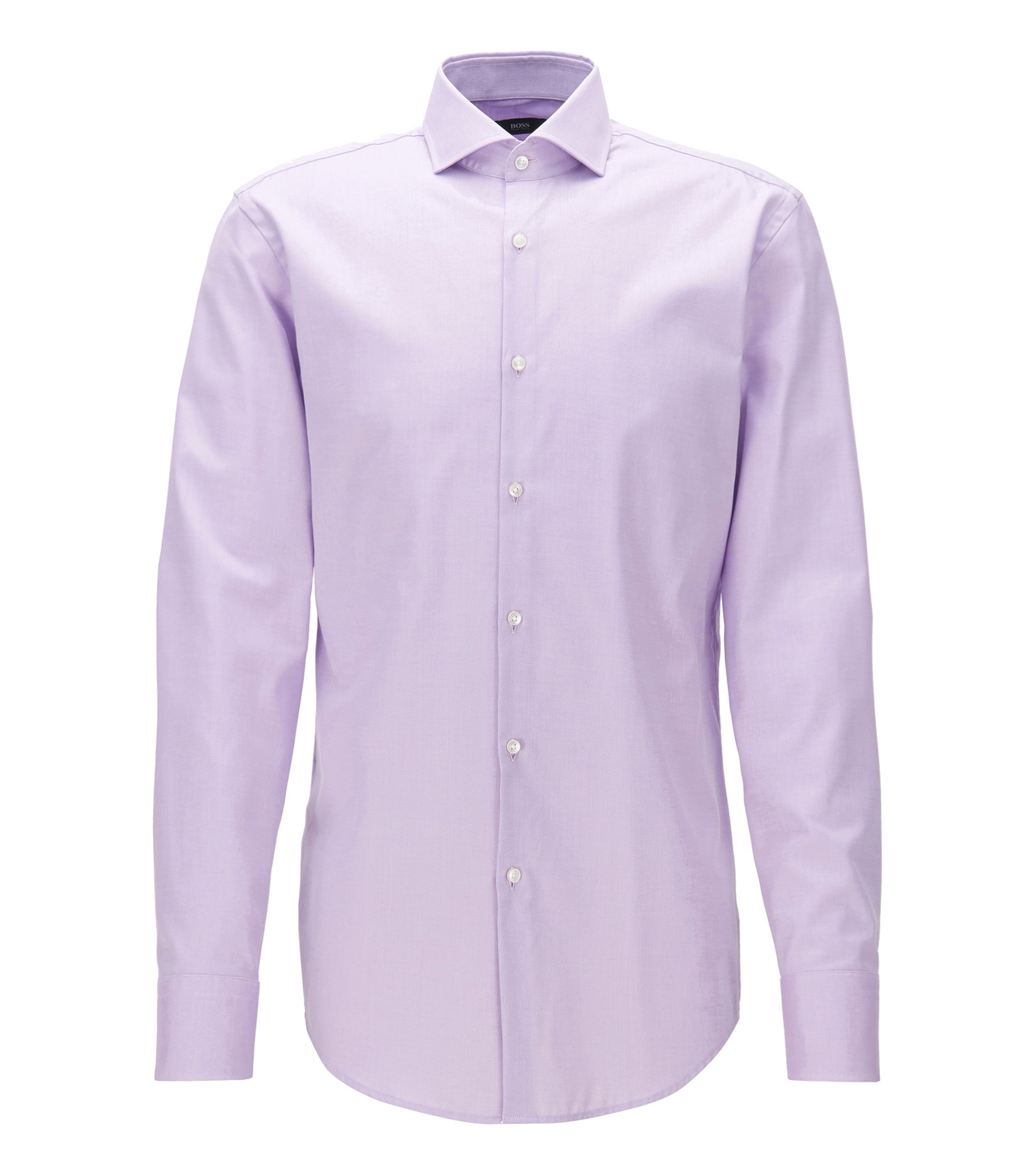 Camicia slim fit in twill di cotone con colletto alla francese, Luce viola