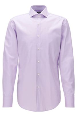 Slim-fit cotton twill shirt with spread collar, Light Purple