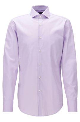 Camisa slim fit en sarga de algodón con cuello italiano, Luz púrpura