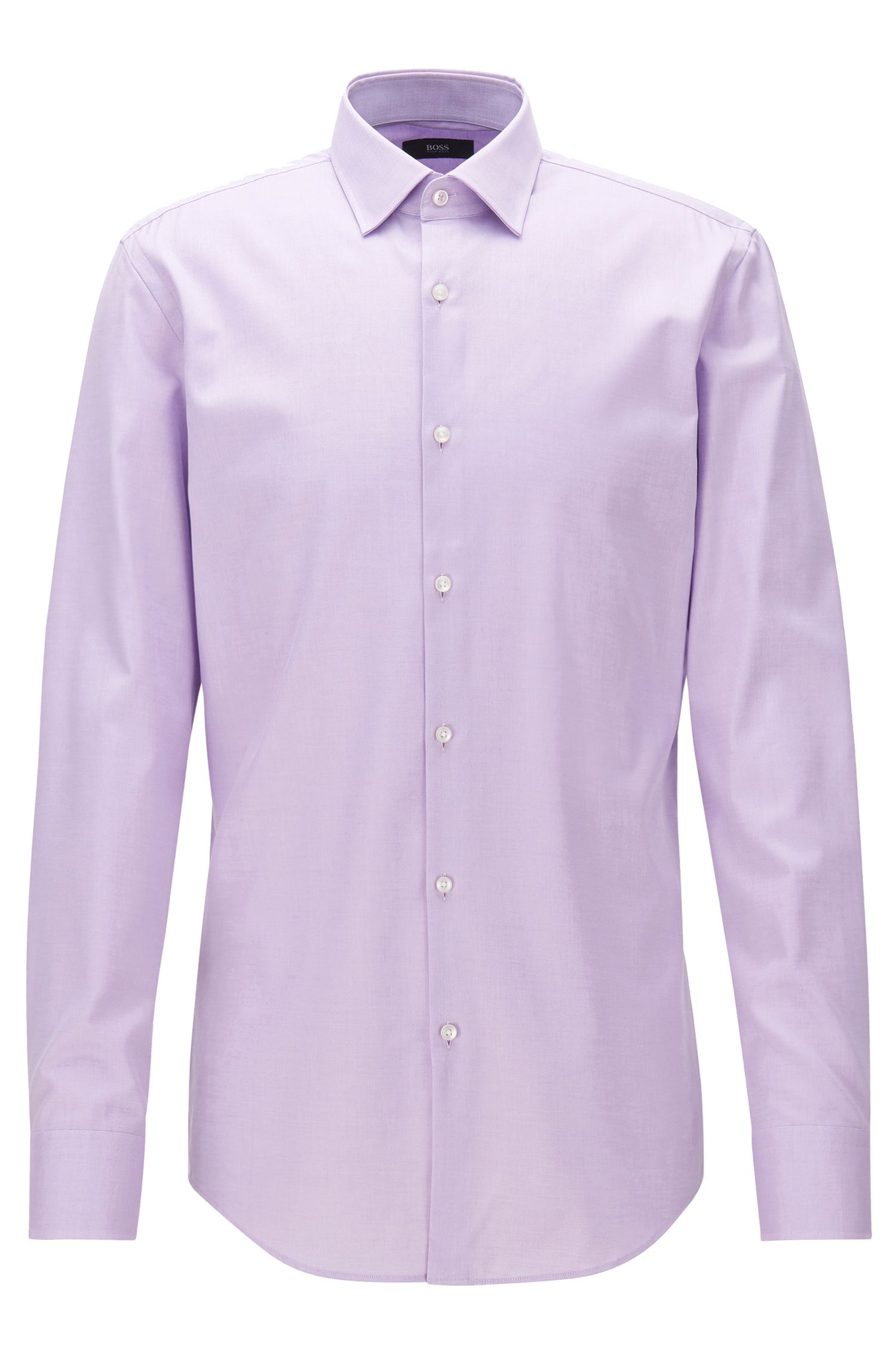 Cotton twill slim-fit shirt with contrast details