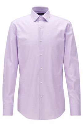 Cotton twill slim-fit shirt with contrast details, Light Purple