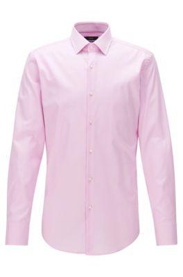 Slim-Fit Hemd aus Baumwolle mit Kontrast-Details, Hellrosa
