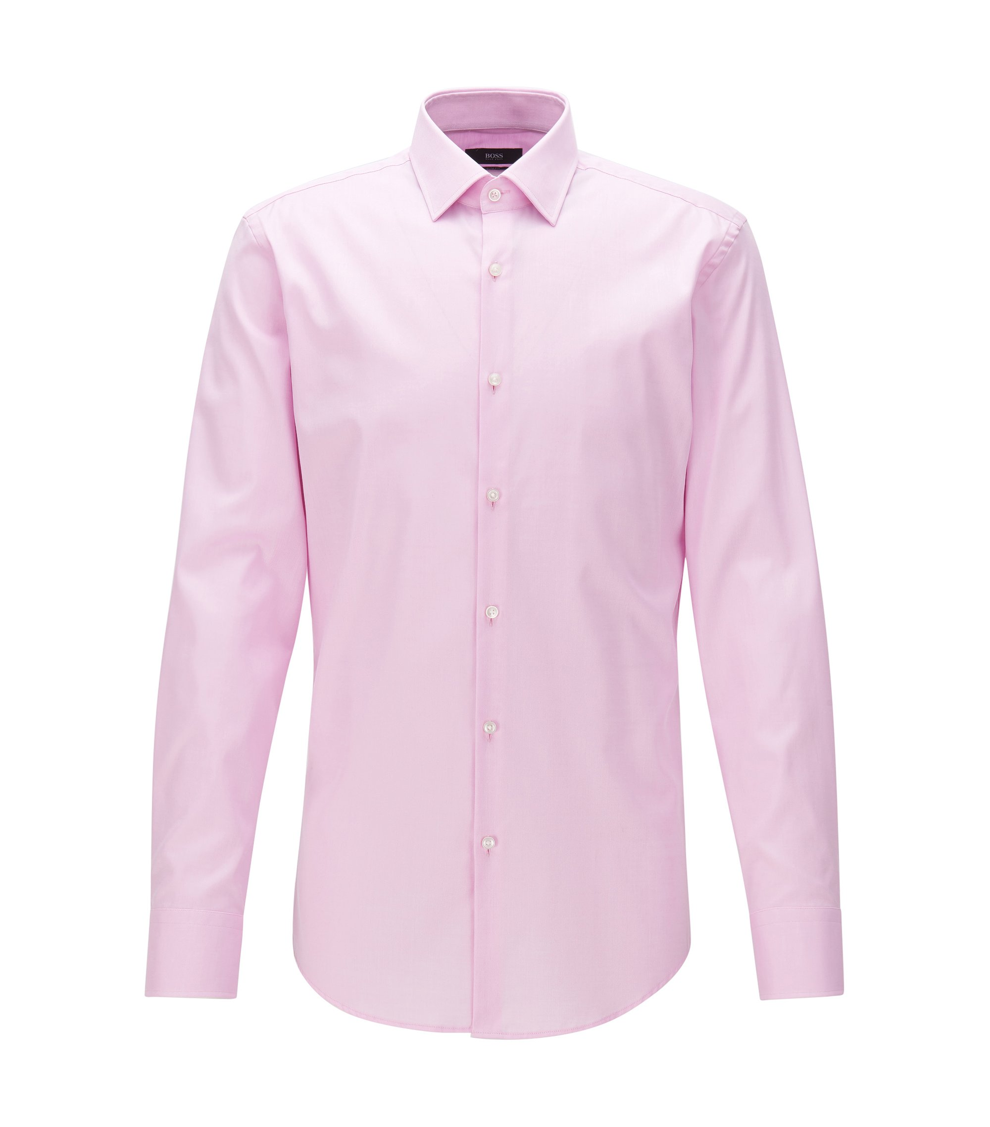 Cotton twill slim-fit shirt with contrast details, light pink