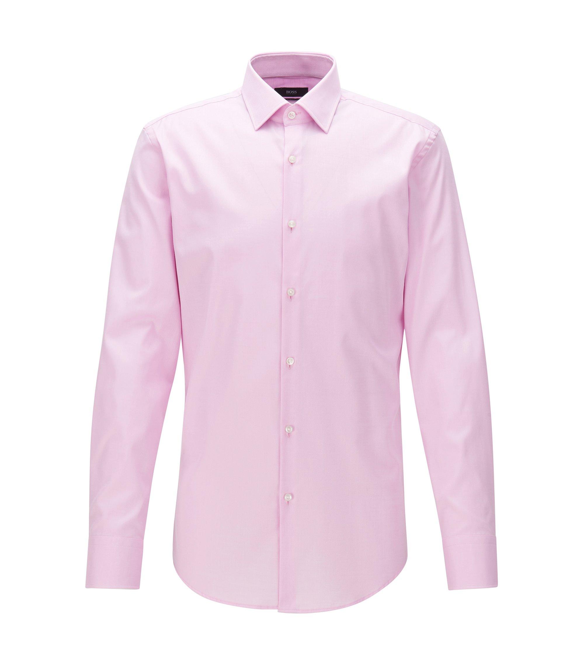 Slim-fit overhemd in een katoentwill met contrastdetails, Lichtroze