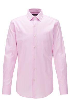 Chemise Slim Fit en twill de coton à détails contrastants, Rose clair