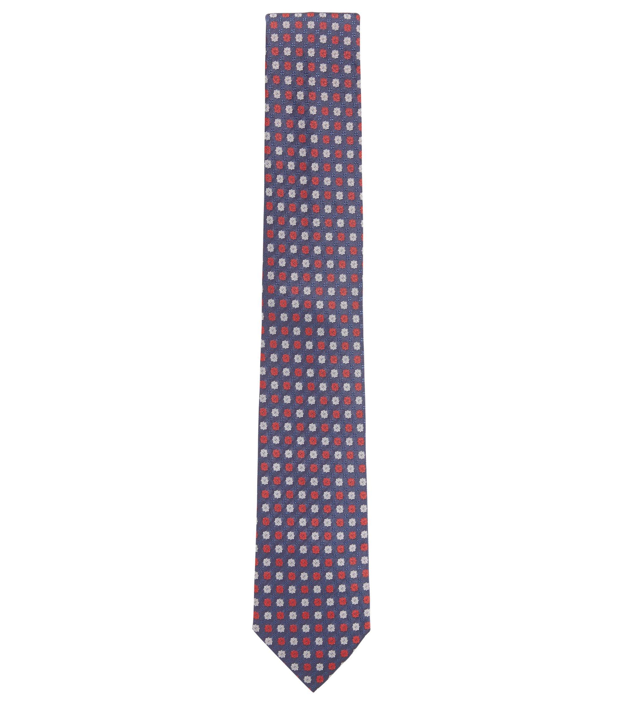 Cravate jacquard en soie à micro-motif , Bleu foncé