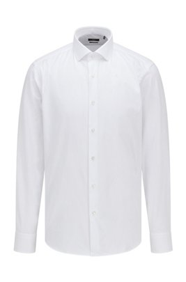 Regular-fit shirt in cotton twill, White