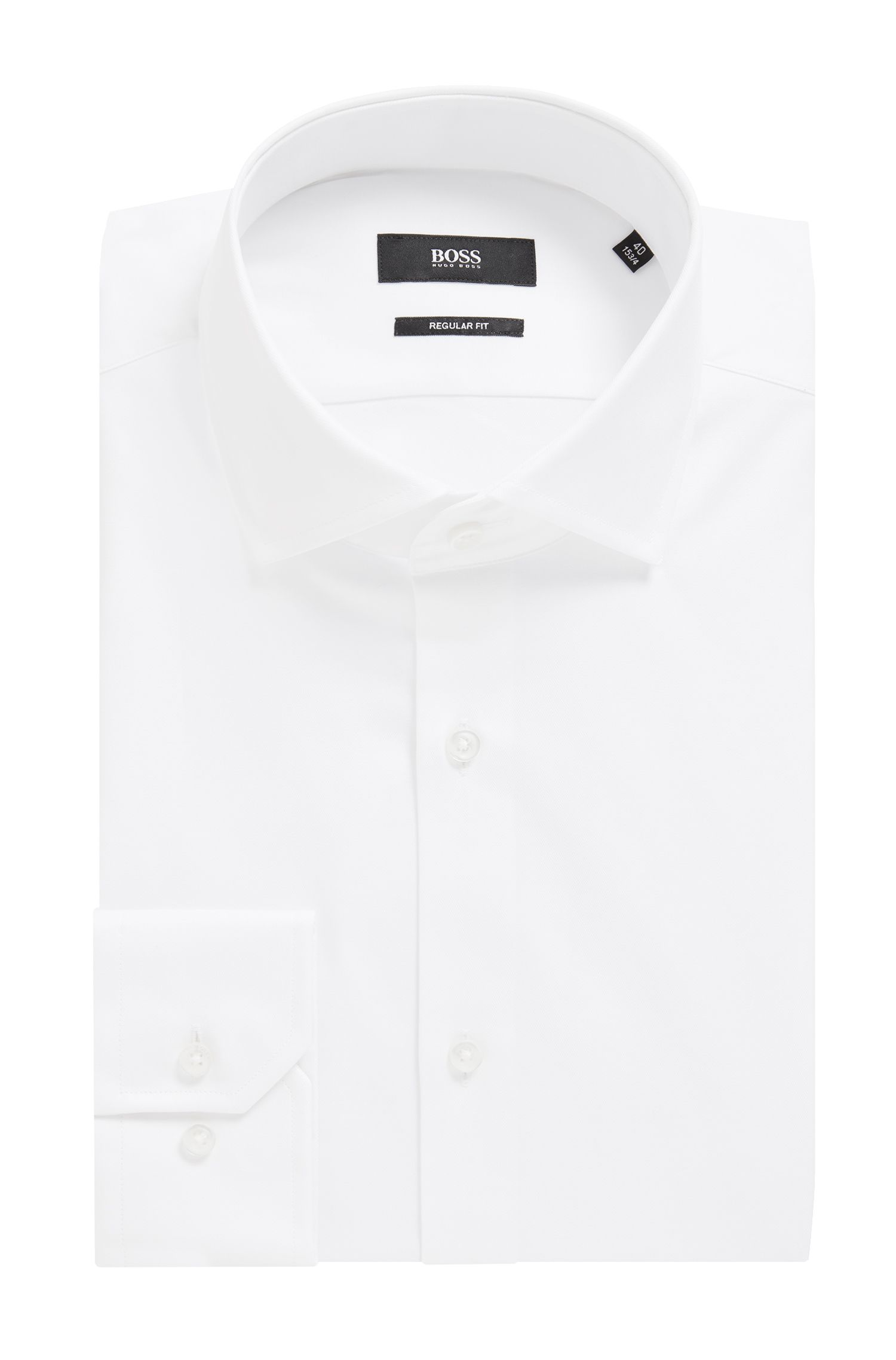 Chemise Regular Fit en twill de coton uni, Blanc