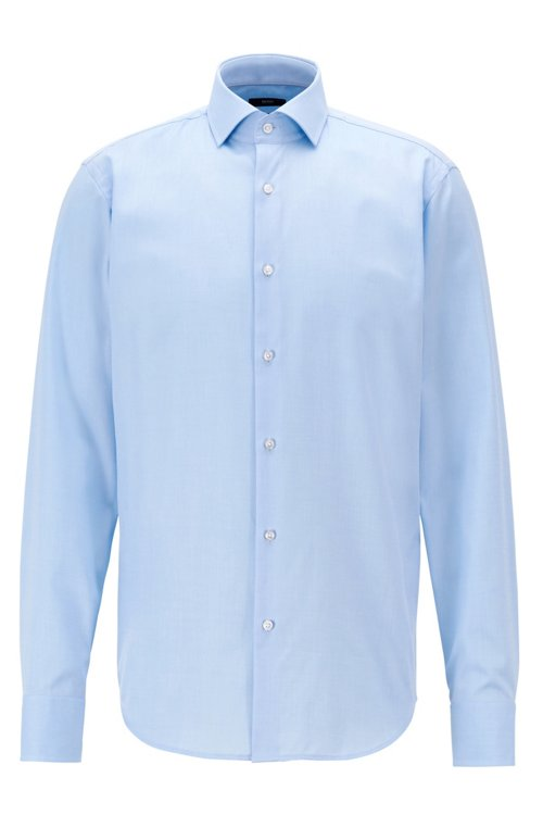 Hugo Boss - Regular-fit shirt in cotton twill with spread collar - 1