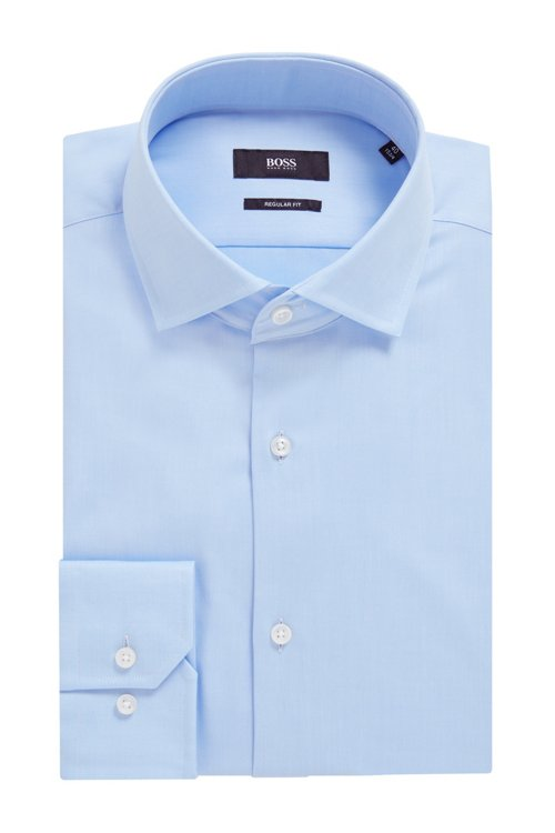 Hugo Boss - Regular-fit shirt in cotton twill with spread collar - 4