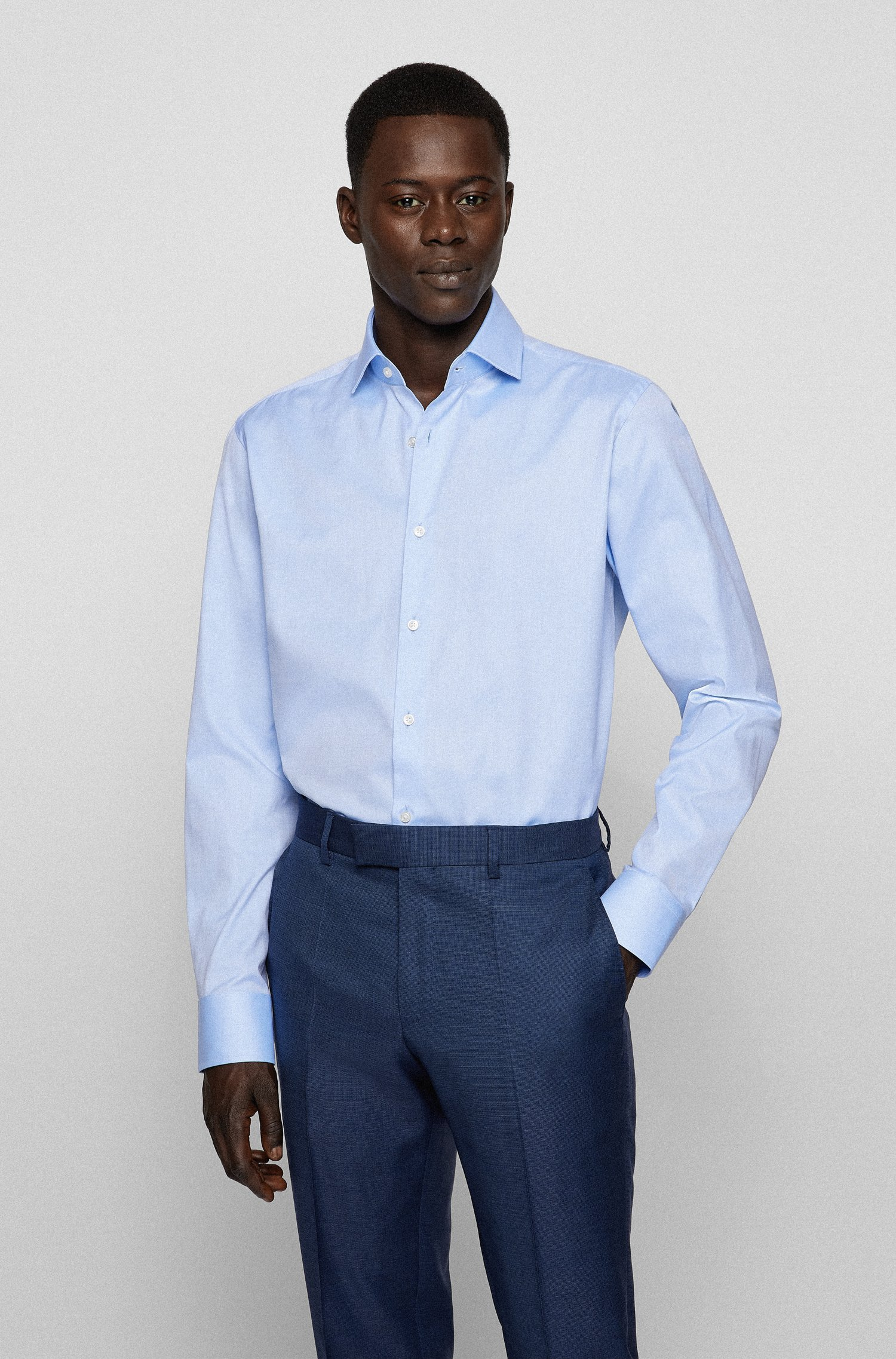 Regular-fit shirt in cotton twill, Light Blue