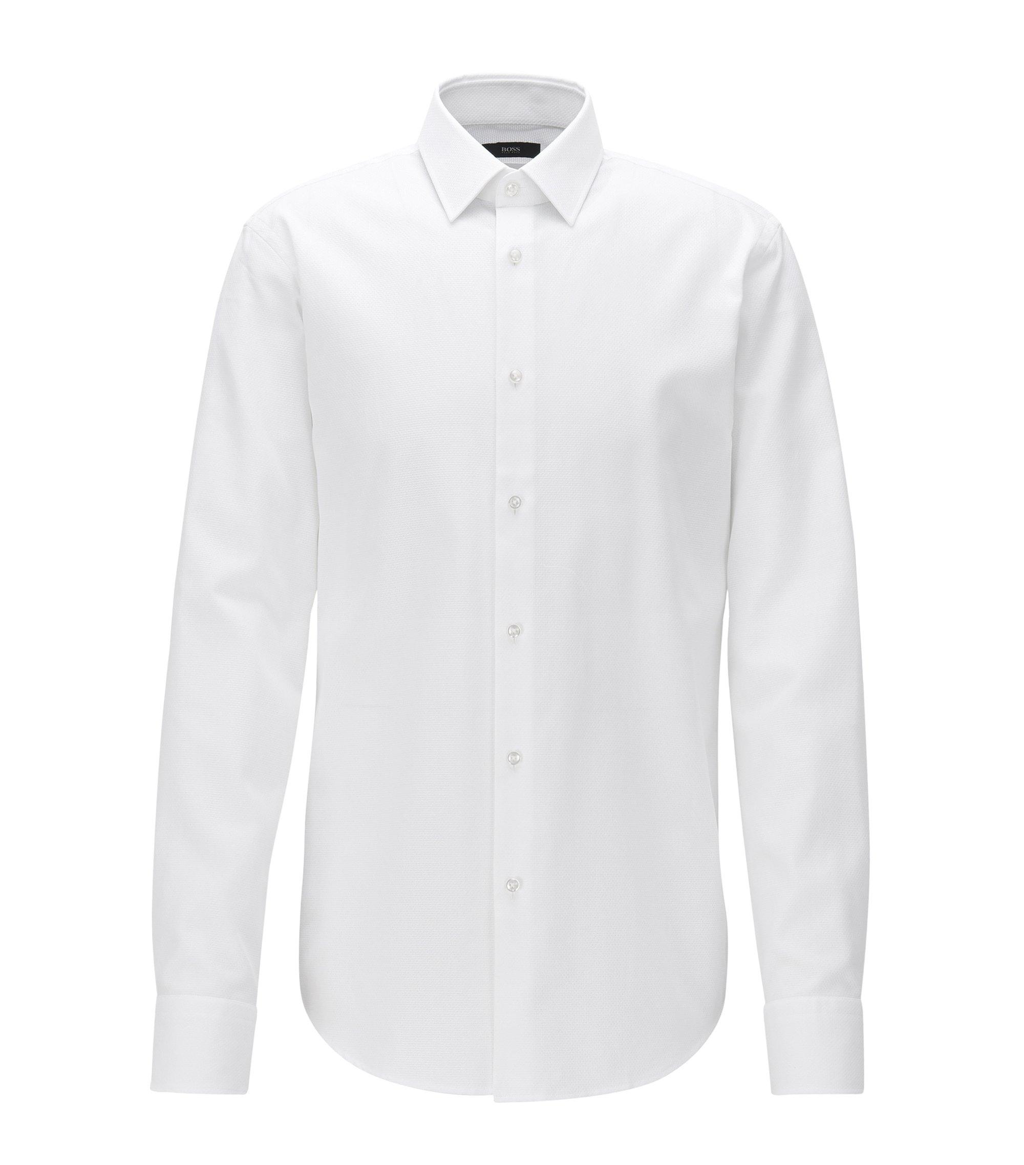 Regular-fit overhemd van gestructureerde katoen, Wit