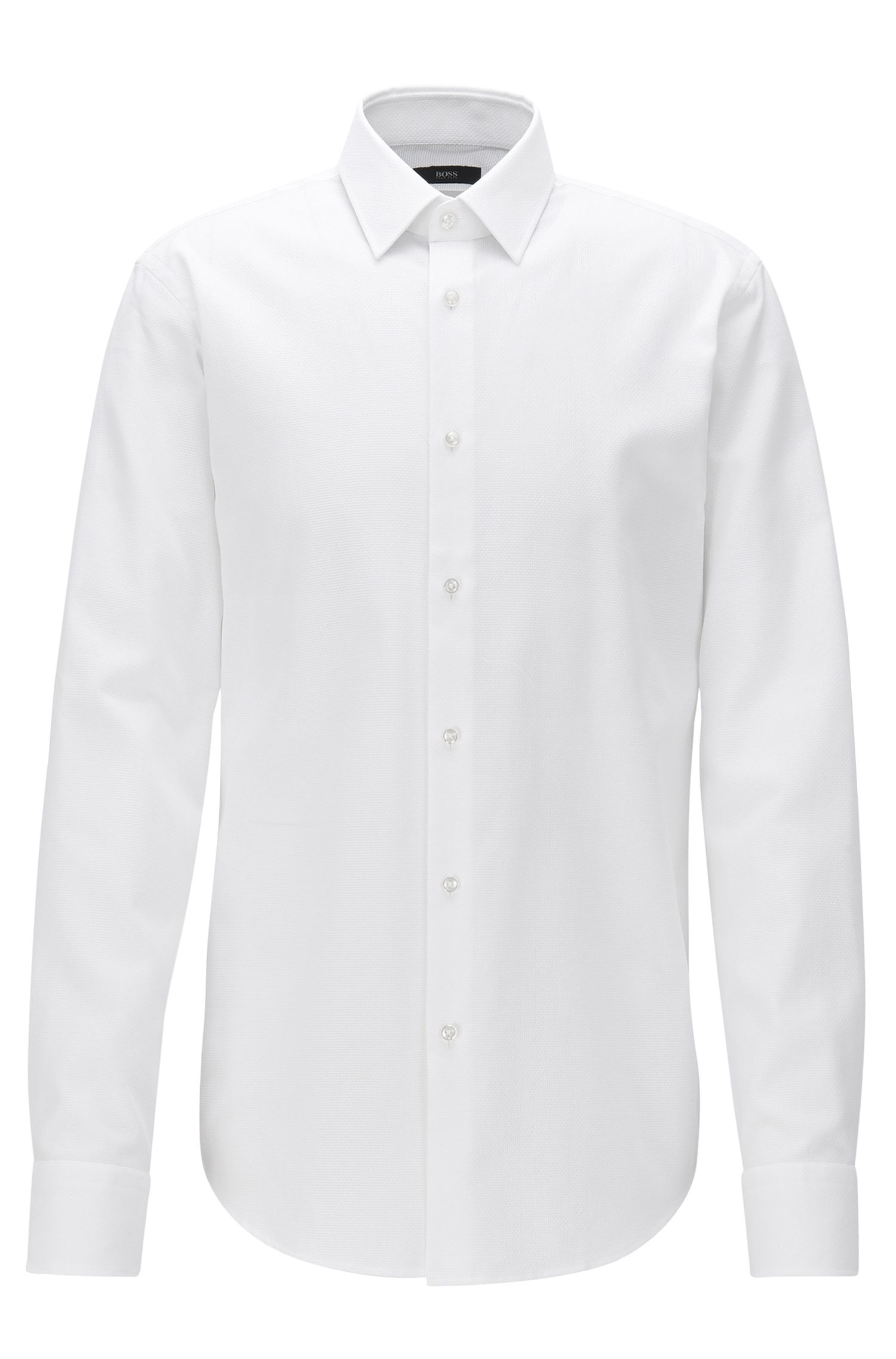 Regular-fit shirt in structured cotton
