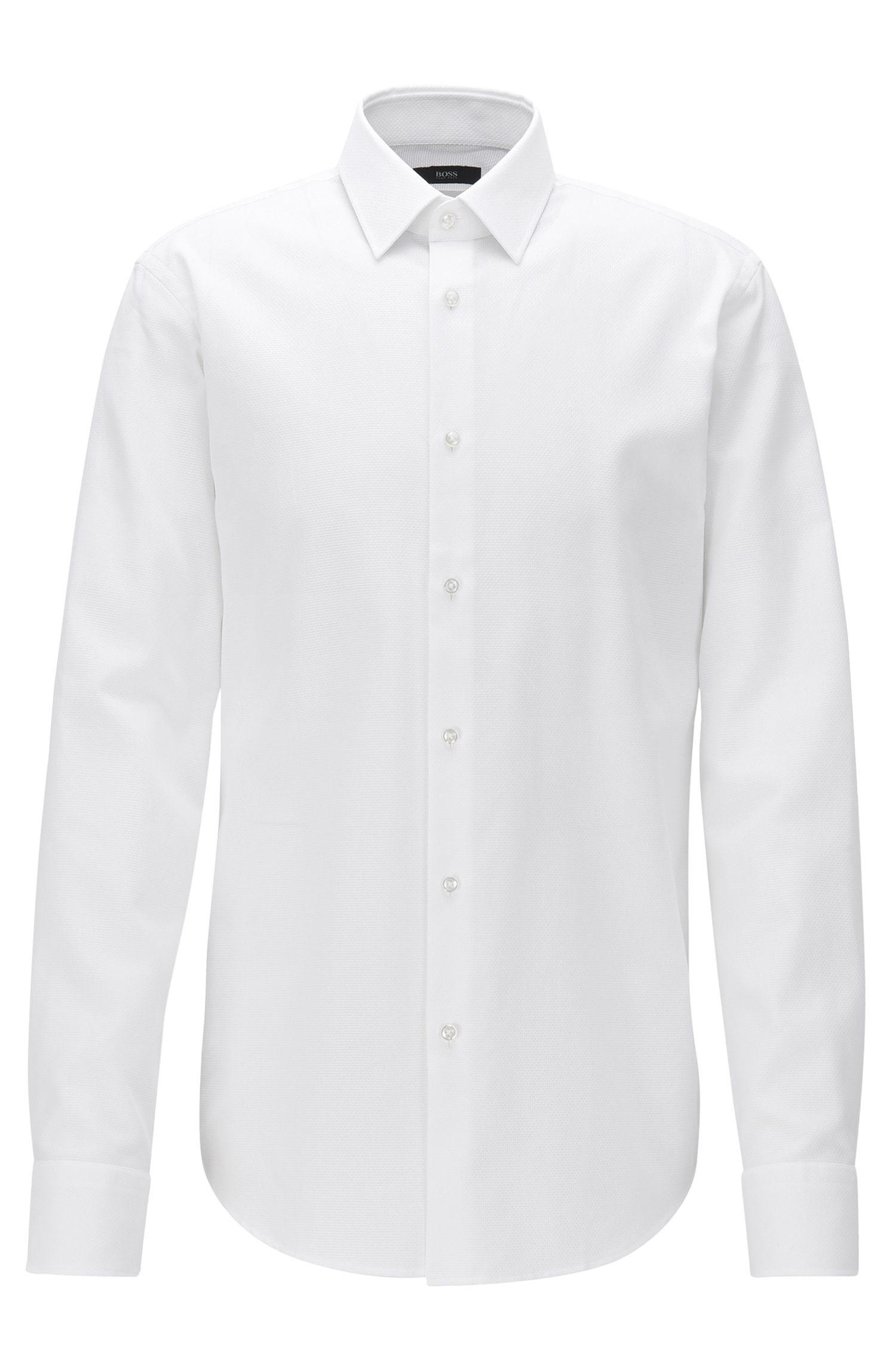 Camisa regular fit de algodón con textura