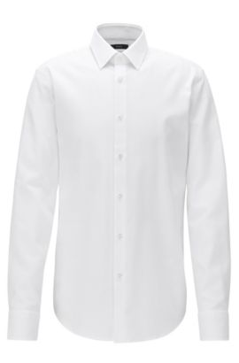 Chemise Regular Fit en coton structuré, Blanc