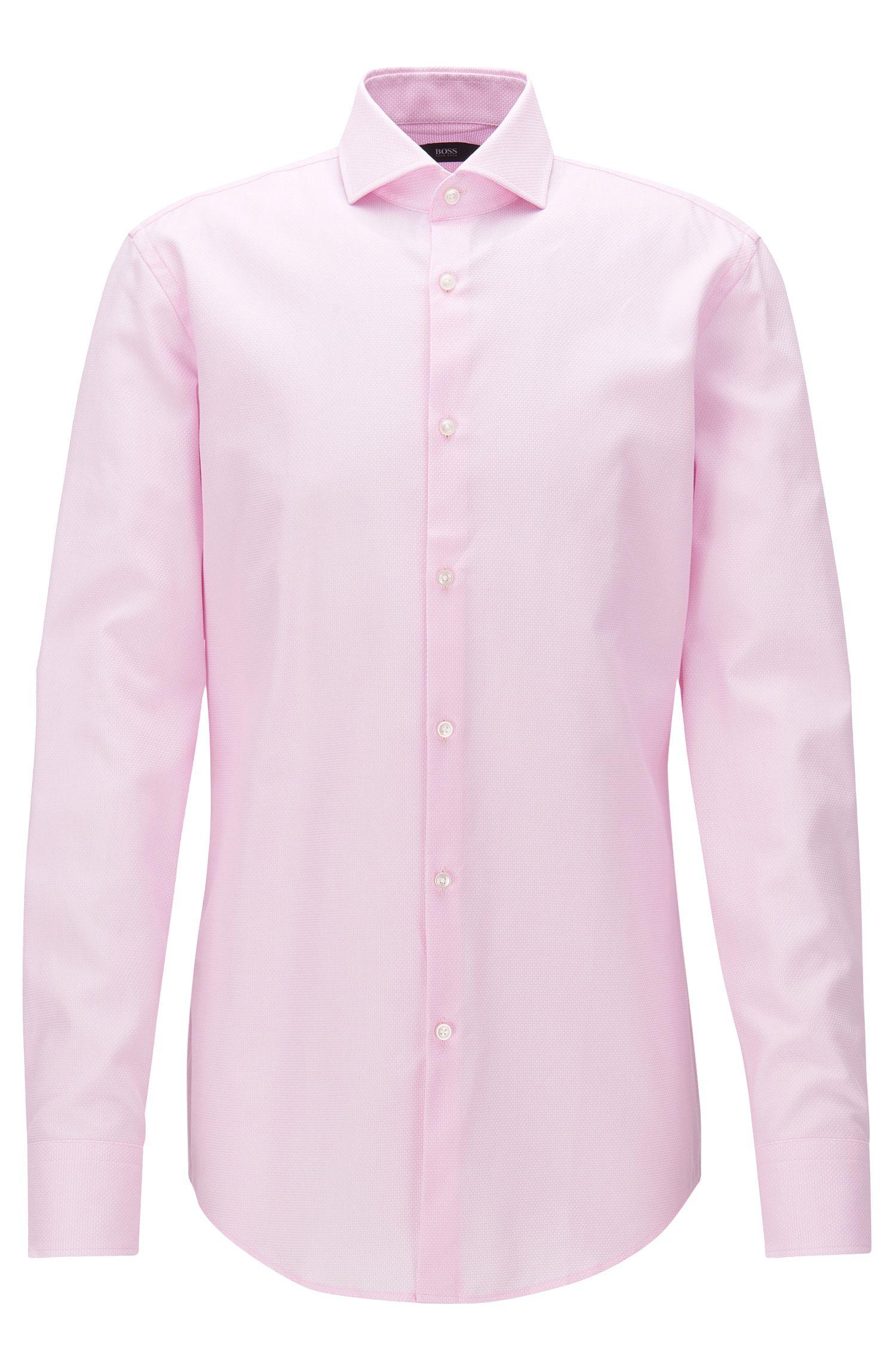Camicia slim fit in cotone con effetto maglia