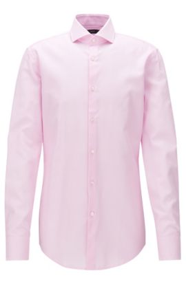 Slim-fit shirt in knitted-effect cotton, light pink