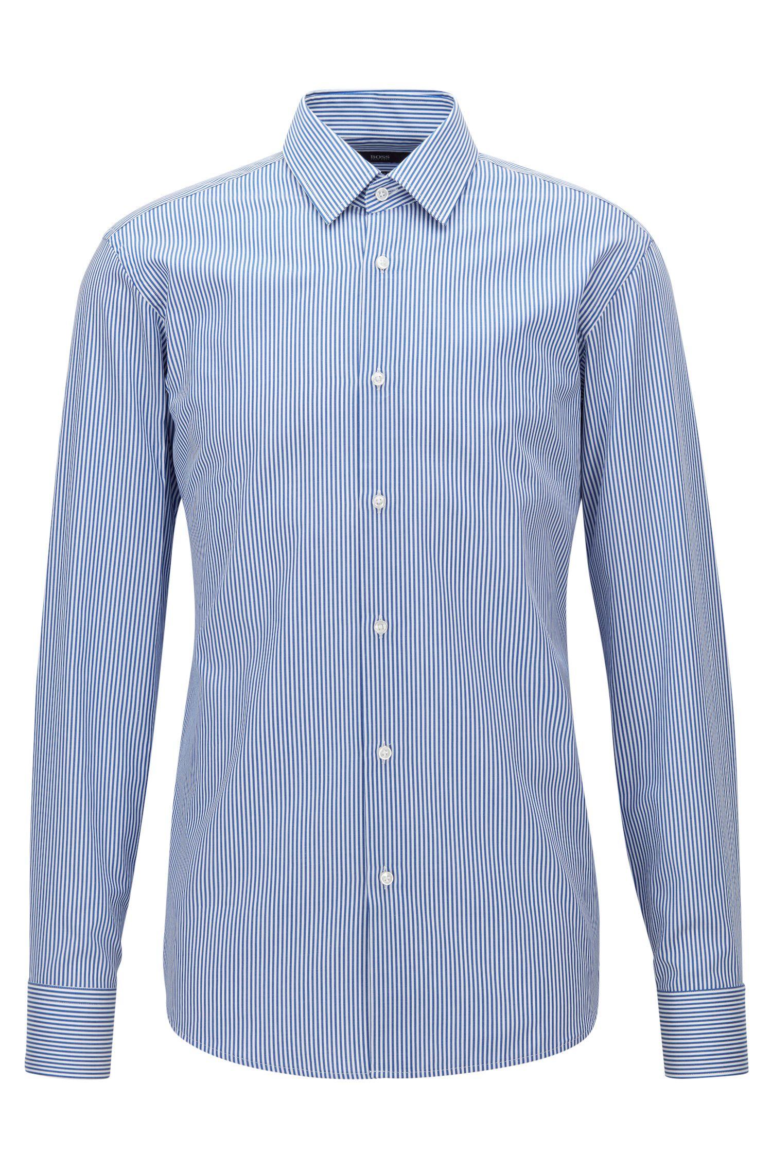 Regular-fit shirt in striped cotton twill
