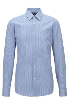 Regular-fit shirt in striped cotton twill, Blue