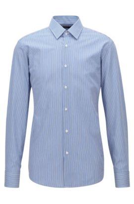Camisa regular fit en sarga de algodón a rayas, Azul