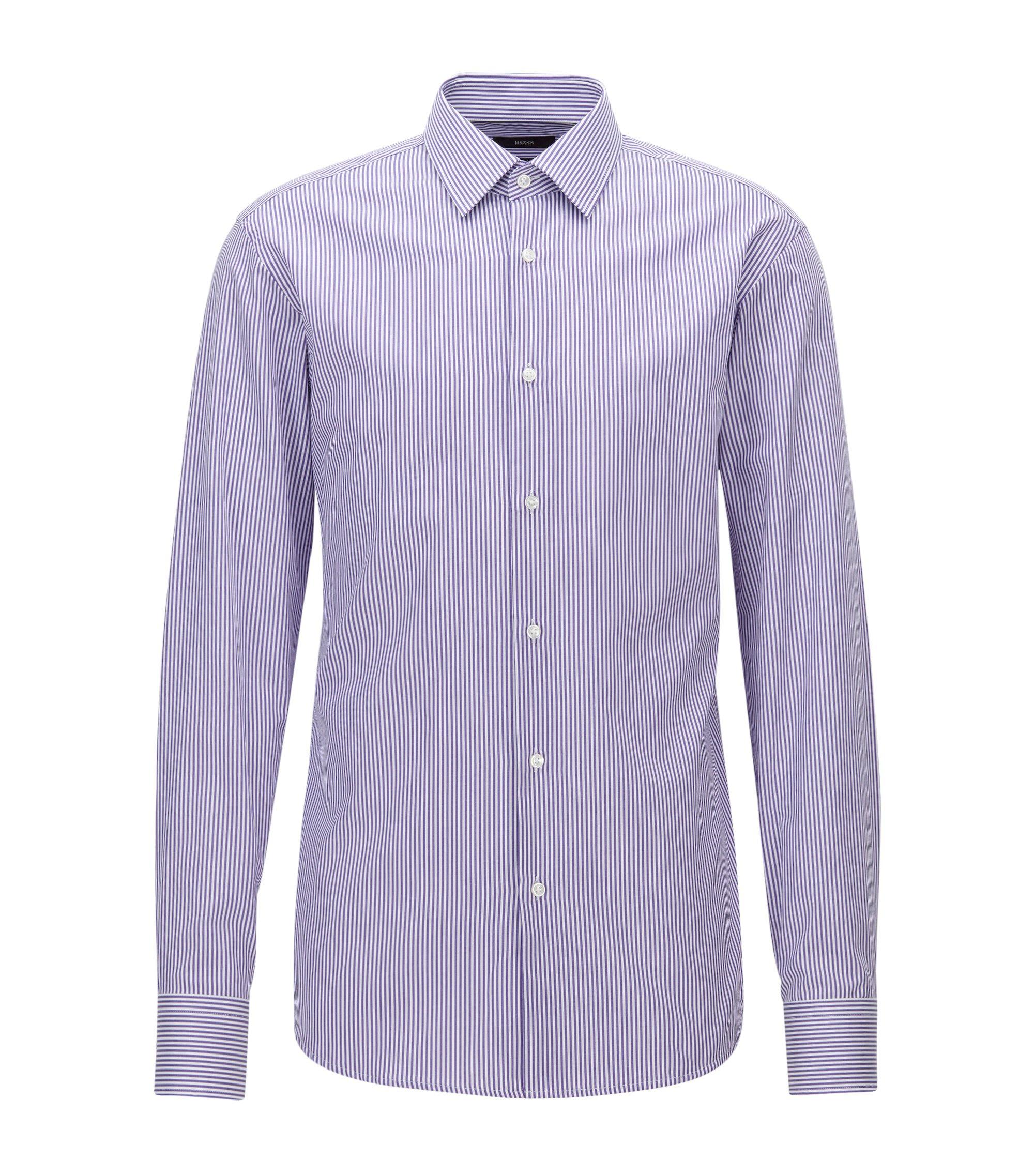 Camisa regular fit en sarga de algodón a rayas, Lila
