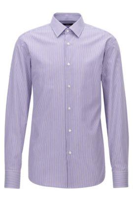 Gestreiftes Regular-Fit Hemd aus Baumwolle, Lila