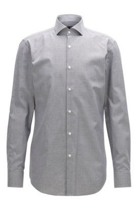 Gemustertes Slim-Fit Hemd aus Baumwolle, Grau