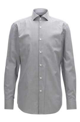 Slim-fit shirt in micro-pattern cotton, Grey