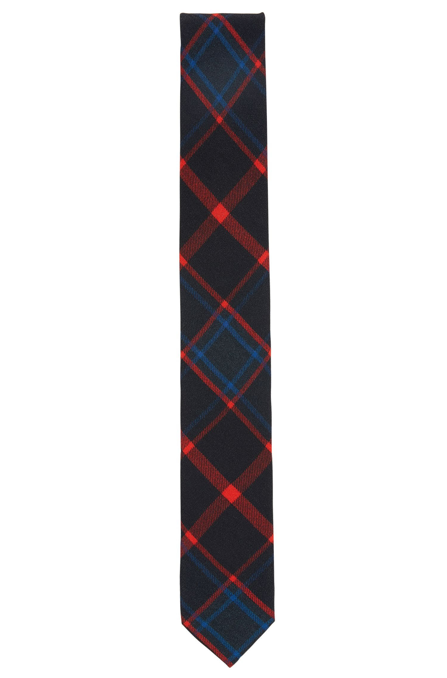 Checked tie in a technical fabric