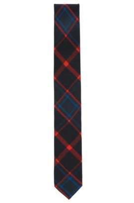 Checked tie in a technical fabric, Red