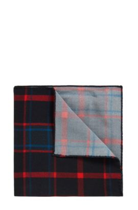 Pocket square in checked fabric, Red