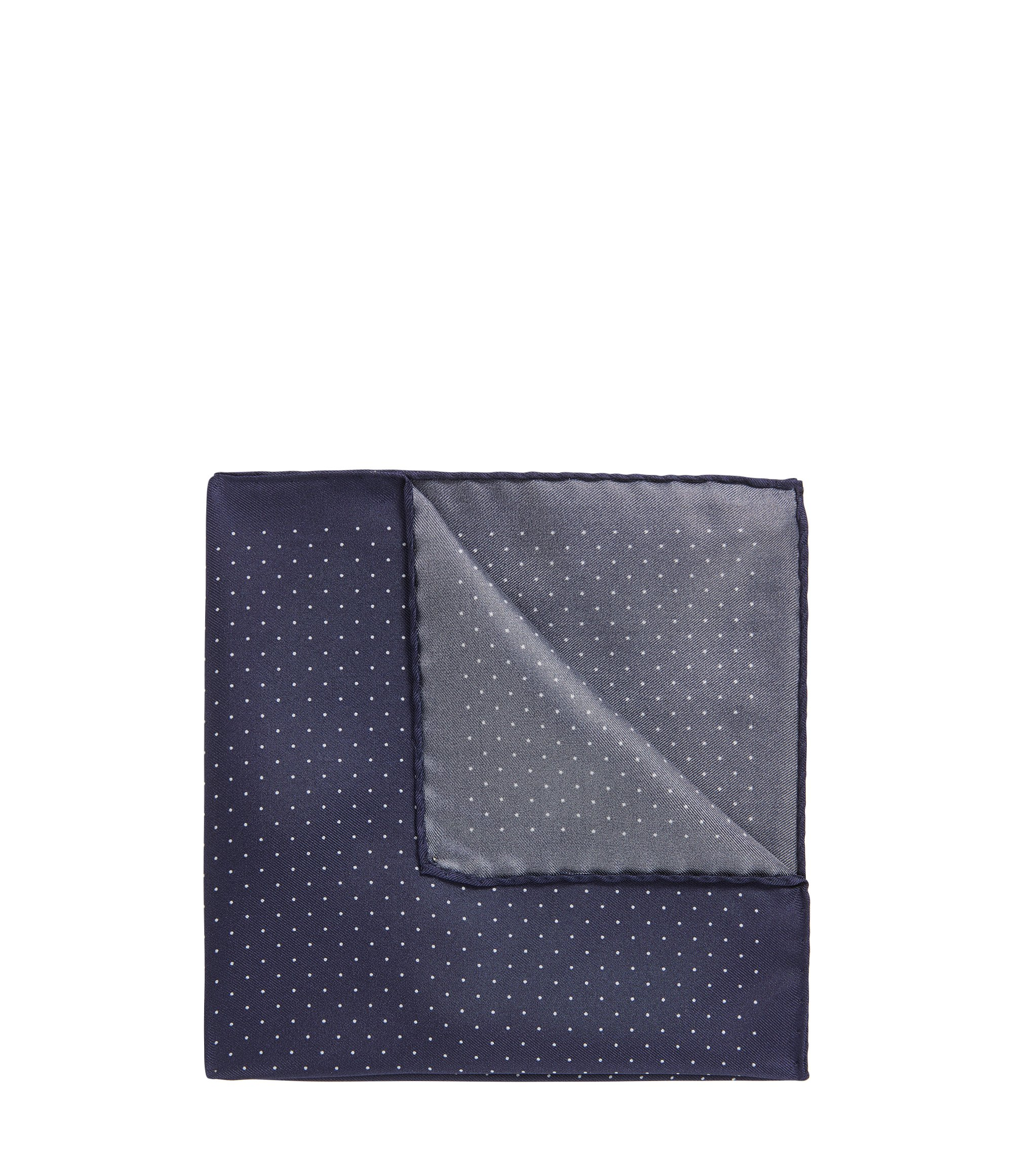 Dot-print pocket square in soft silk, Dark Blue