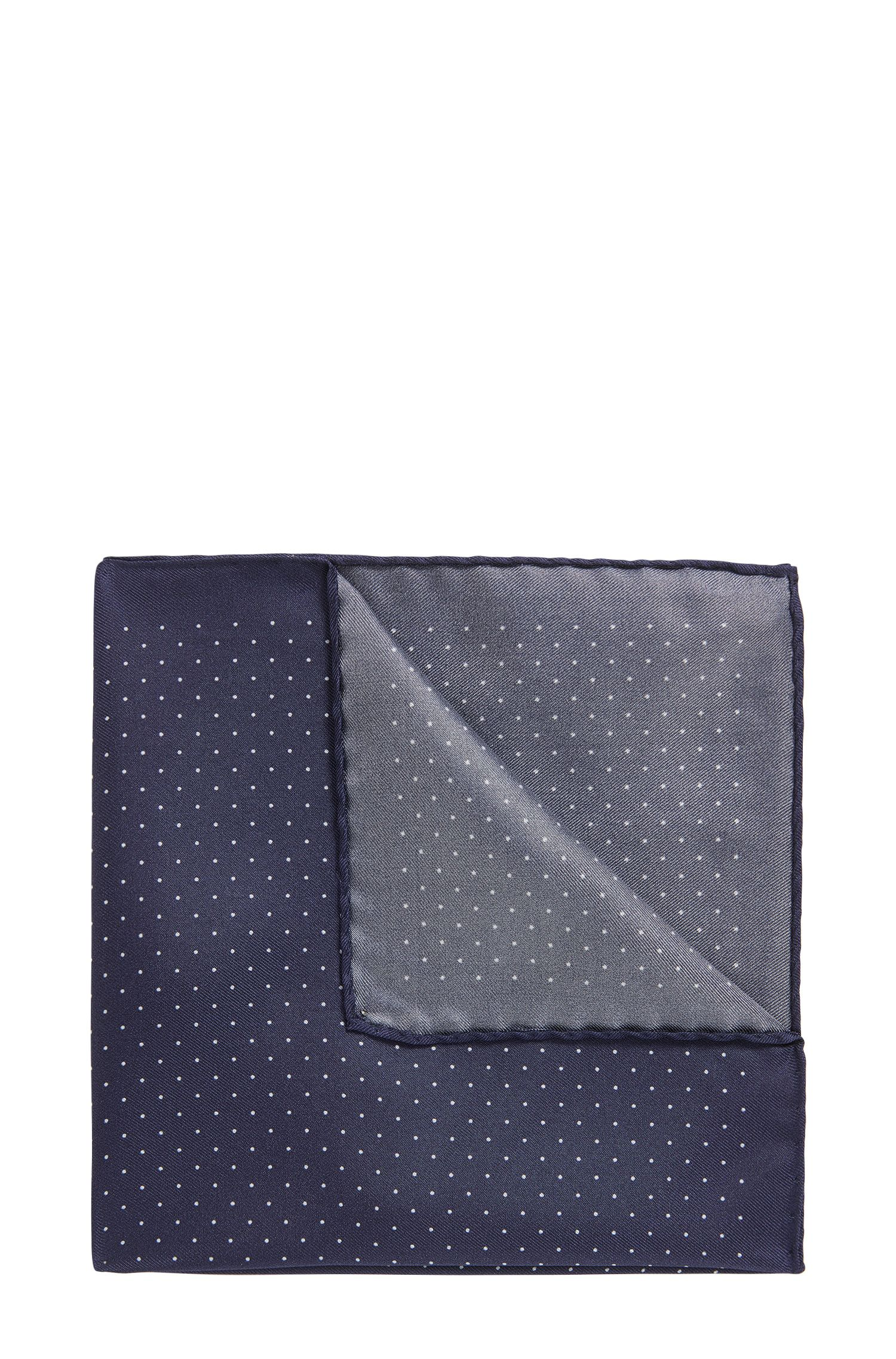 Dot-print pocket square in soft silk