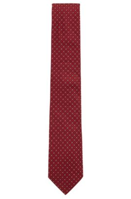 Jacquard tie in micro-pattern silk, Red