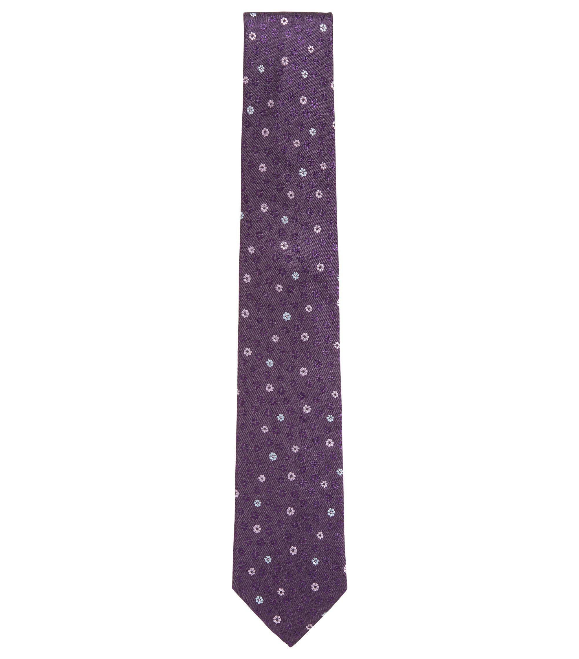 Cravatta in seta con disegno floreale, Lilla