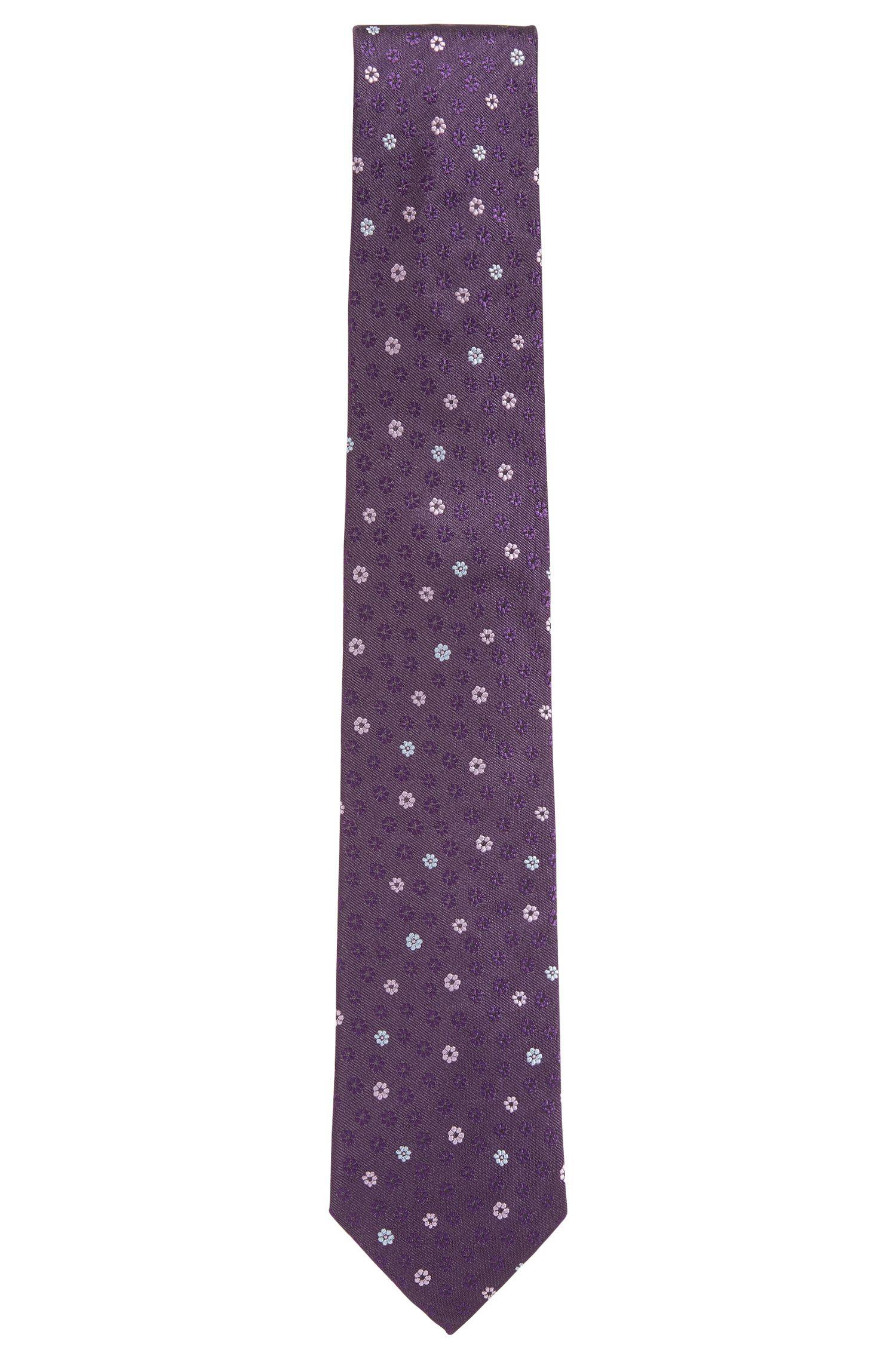 Flower-patterned silk tie