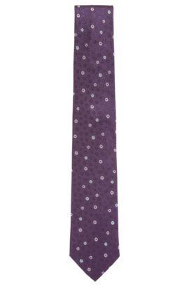 Flower-patterned silk tie, Purple