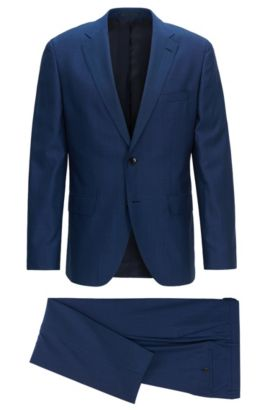 Regular-fit three-piece suit in an end-on-end wool blend, Dark Blue