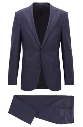 Slim-fit virgin wool suit, Donkerblauw