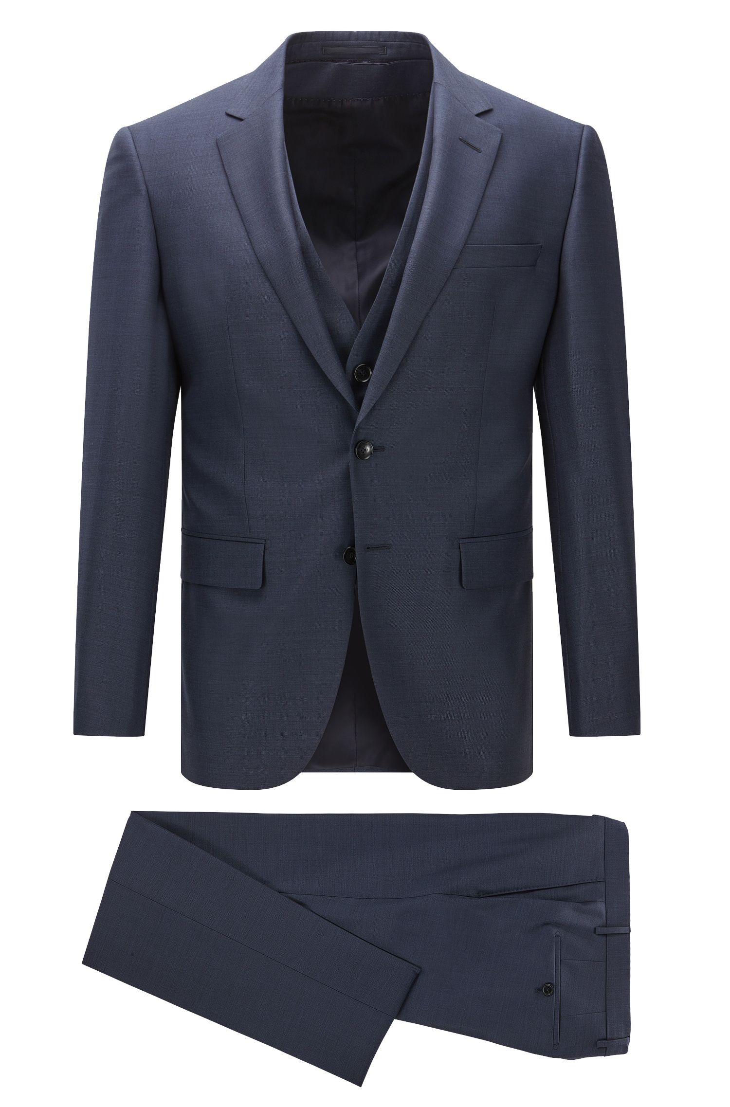 Slim-fit three-piece suit in Super 130 virgin wool