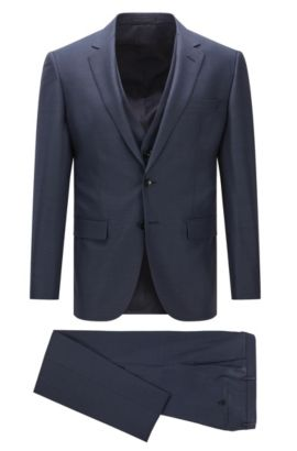 Slim-fit three-piece suit in Super 130 virgin wool, Dark Blue