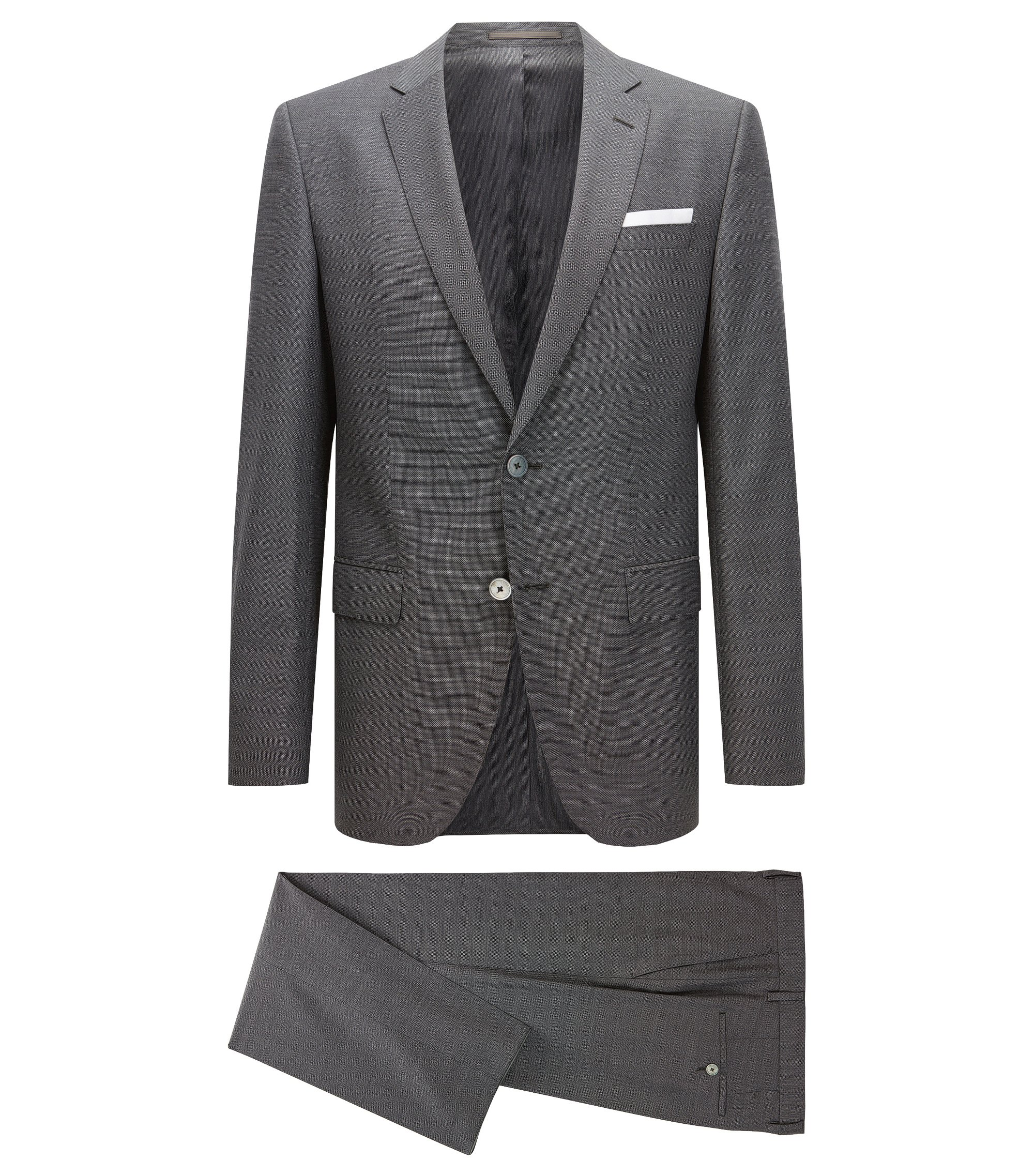 Slim-fit suit in high-twisted virgin wool, Dark Grey
