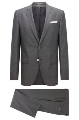 Slim-Fit-Anzug aus Schurwolle, Dunkelgrau