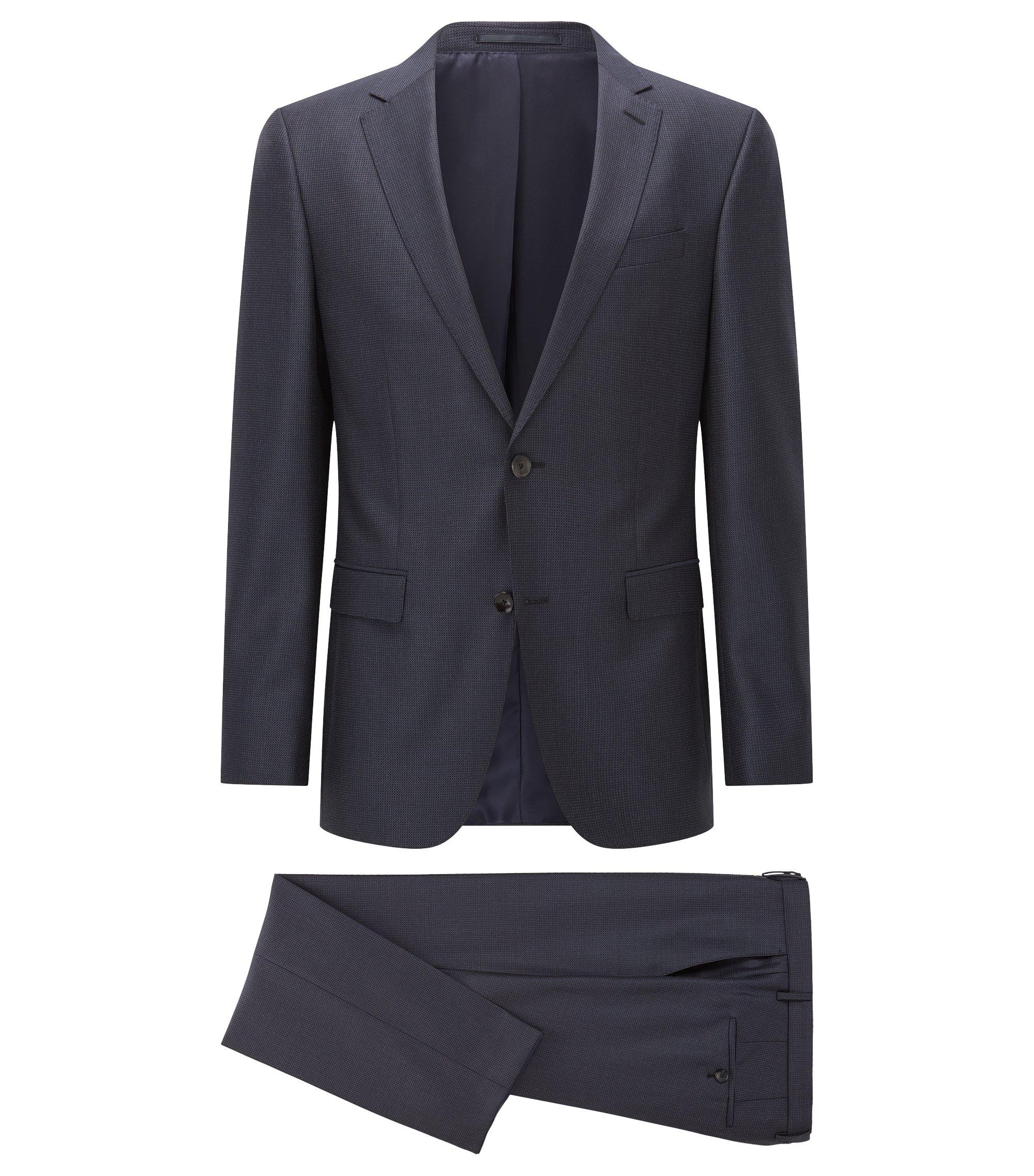 Fein karierter Slim-Fit Anzug aus Schurwolle, Dunkelblau