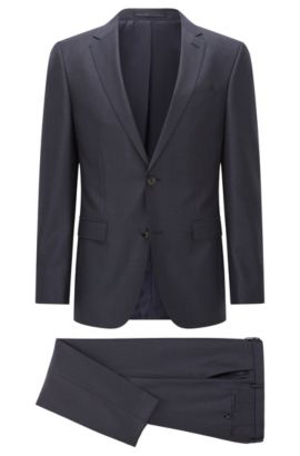 Slim-fit suit in micro-check virgin wool, Dark Blue