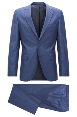 Regular-fit suit in virgin wool, Open Blue