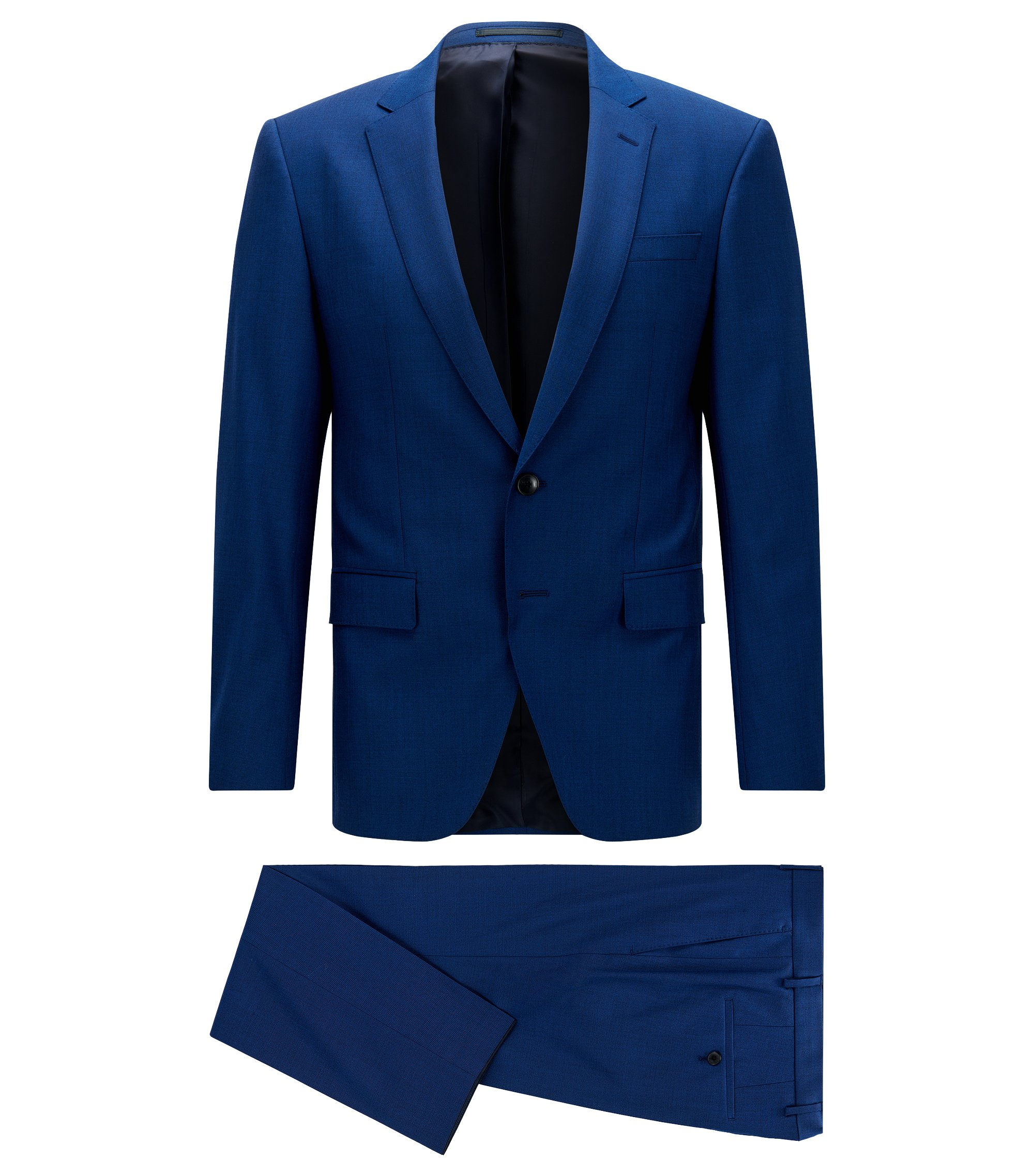 Slim-fit suit in stretch virgin wool, Blue
