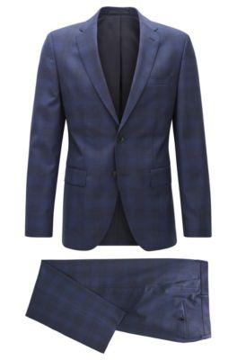 Karierter Regular-Fit Anzug aus Schurwolle, Dunkelblau