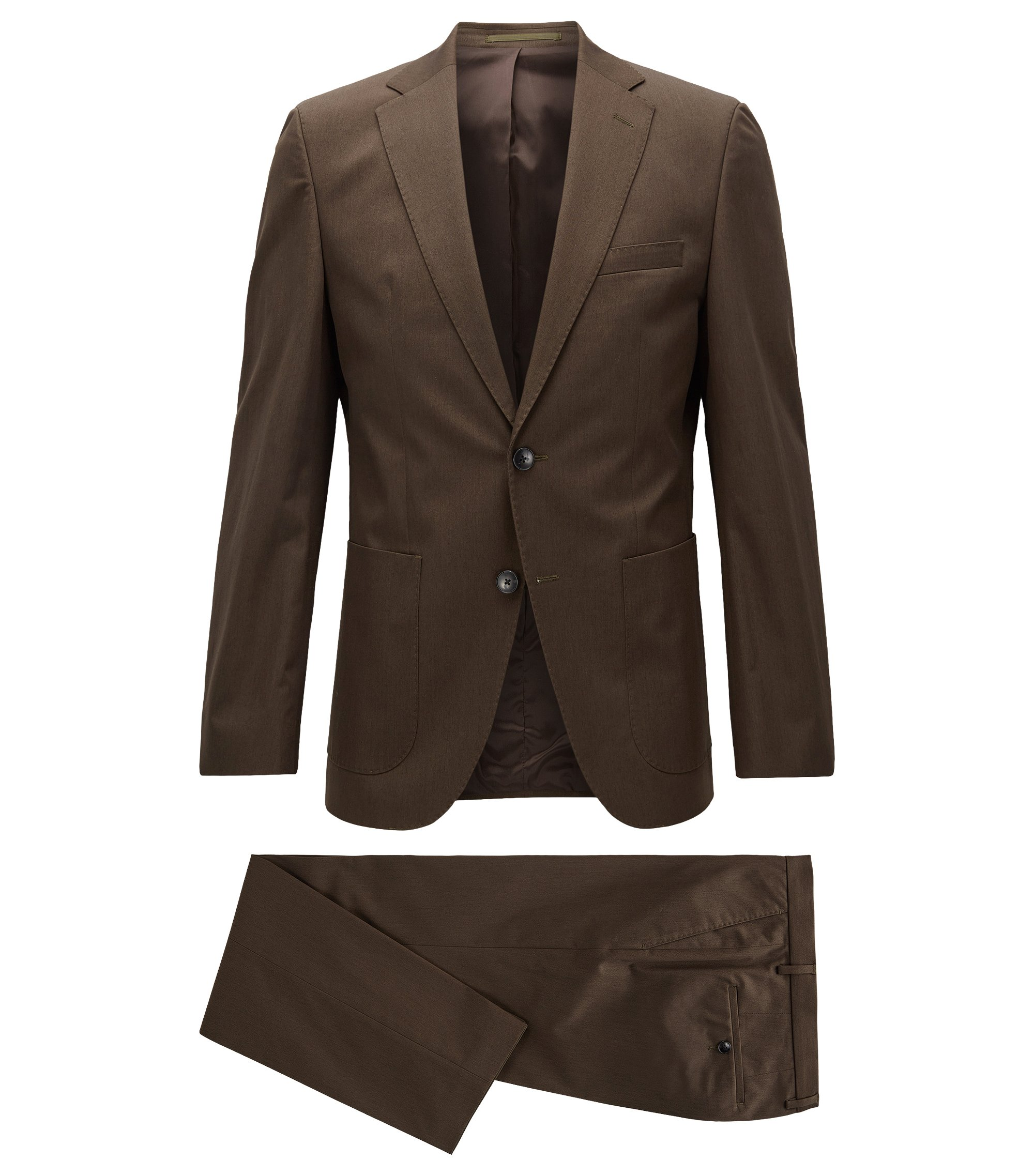 Regular-fit suit in stretch cotton, Braun